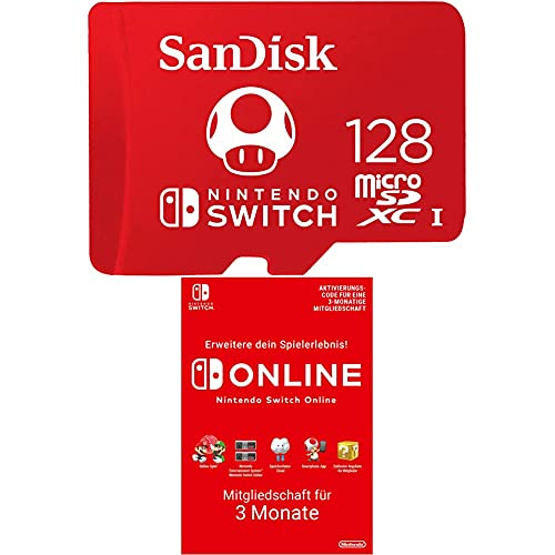 SanDisk microSDXC UHS-I Speicherkarte für Nintendo Switch 128 GB (V30, U3, C10, A1, 100 MB/s) + Nintendo Switch Online Mitgliedschaft - 3 Monate | Switch Download Code