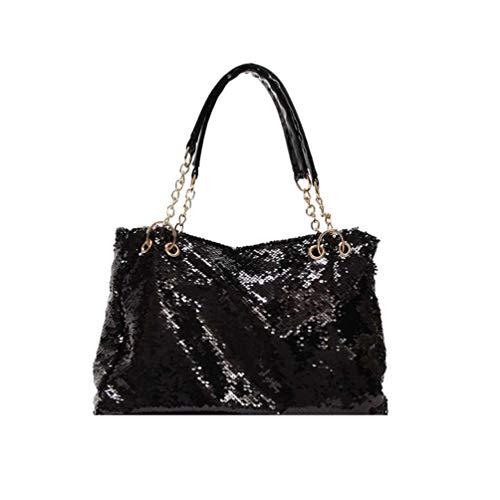 FENICAL bolso de mano bolso de lentejuelas con cremallera bolso de hombro con purpurina bolso de asa superior para mujeres damas niñas - negro