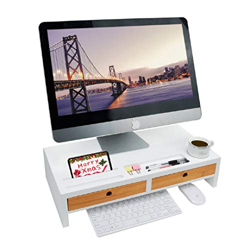Monitor Riser Stand Desk Shelf - with Drawer and Keyboard Storage, Stylish and Well Made Space Saver 22' x 10.6' x 4.7'