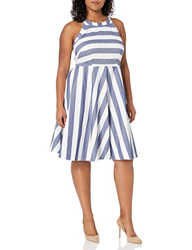 Eliza J Women's Plus Size Stripe Fit and Flare Dress, Blue, 14W