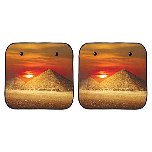 Sombrilla para automóvil para niños Pirámides en el valle de Giza Bajo la ventana de luz del atardecer Sombrilla para automóvil Coche plegable de 2 piezas para la mayoría de los sedanes Suv Truck Pro