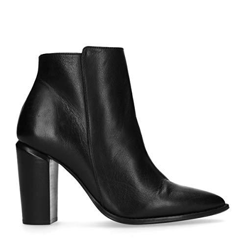 Schwarze Leder-Stiefeletten mit Absatzzwart Schwarz