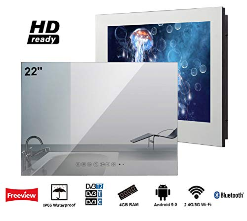 Soulaca 'innovativtv LED Andriod Smart TV Baño Espejo Frontal 22 Pulgadas Resistente al Agua IP66 con Wi-Fi Incorporado