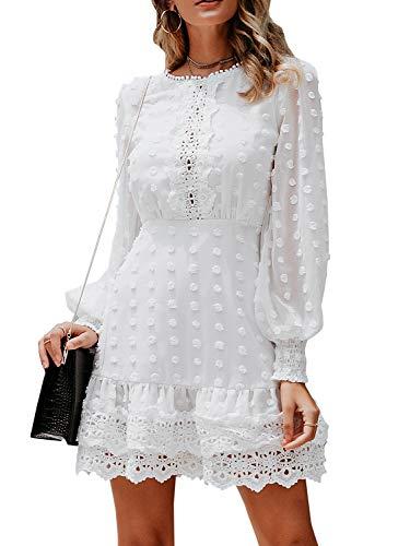MsLure Women's Elegant Lace Chiffon Mini Dress Lantern Sleeve Ruffle Hem Party Dress White,M