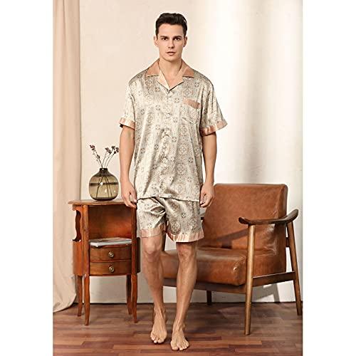 Impresión Conjunto De Pijama De Satén De Seda Camisa De Dormir para Hombre Ropa De Dormir Camisón Ropa De Dormir Camisa De Manga Corta Tops Pantalones Pantalones Cortos Bottoms,Caqui,XL