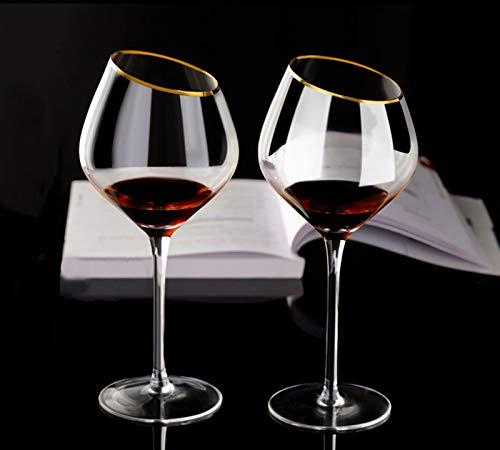 Juego de 2 copas de vino tinto hechas a mano, copas de vino dorado, sin plomo, cristal de degustación profesional, color burdeos, rojo de Pinot Noir-Burdeos, 2 unidades de 560 ml