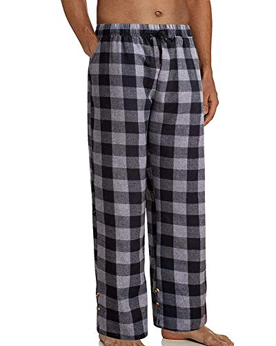 Springcmy Pantalones de pijama de algodón para hombre, cintura elástica, a cuadros, ropa de dormir