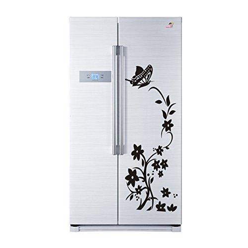 Demiawaking Blumen Rattan Schmetterlings Muster PVC entfernbare Hauptwand + Kühlschrank Aufkleber (Schwarz)