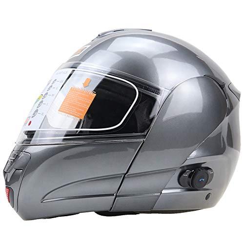 YAUUYA Klaphelm integraalhelm Helm Bluetooth Multifunctionele helm Modular Cruiser Scooter Racing Music integraalhelm antwoordende hoofdtelefoon ECE-gecertificeerd dubbele spiegel, M/L/XL