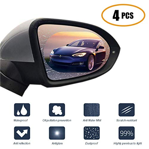 oFami Car Rearview Mirror Anti Fog Protective Film,Rainproof Anti Glare Nano Coating Car Rearview Mirror Film and Side Window Film Oval+Rec HD Waterproofing Rainproof Automobiler Membrane 4pcs