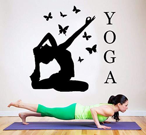 Zjxxm Kunst Wohnkultur Yoga Action Schmetterlinge Dekoration Wandaufkleber Für Fitnessraum Gym Vinyl Abnehmbare Sofa Hintergrund Wandbild F-13 57 * 56 Cm
