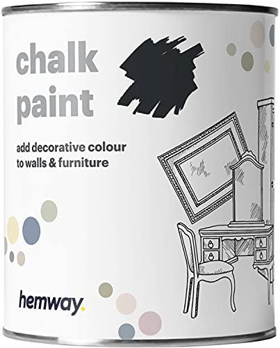 Hemway Pintura de tiza gris antracita, acabado mate, pintura para pared y muebles, 1 litro, estilo Shabby Chic Vintage Chalky (50 colores más disponibles)