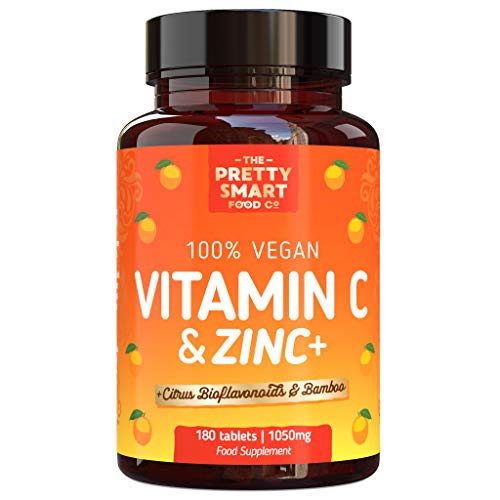 Powerful Vitamin C and Zinc Tablets - Vitamin C 1000mg with Zinc - Boosted with Citrus Bioflavonoids & Bamboo - For The Maintenance of a Normal Immune System - 180 Tablets - 6 Month's Supply - UK Made