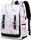 School Backpack for Teen Girls Women Bookbag School Bag 15.6 inch Laptop Backpack Daypack for School Travel (Pink Marble14)