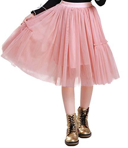 Happy Cherry - Tutú Falda Niña Tul para Fiesta Danza Boda Viaje Disfraz Faldas Niñas Enagua Larga Gasa Cintura Elástica - 8-9 Años - Rosa