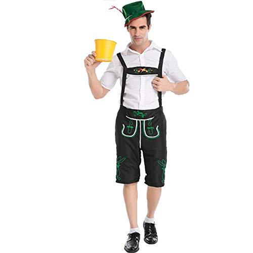 Suncaya Traje de Cerveza Oktoberfest de Los Hombres Traje de Disfraces de Cosplay de Los Trabajadores del Granjero Festivo para Las Festas de Halloween Negro