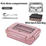 HCTX Acero Inoxidable portátil Bento Caja con Compartimento de Calor Bento Caja de la Cocina para los contenedores de Comida para bebés,Pink 900ML Set