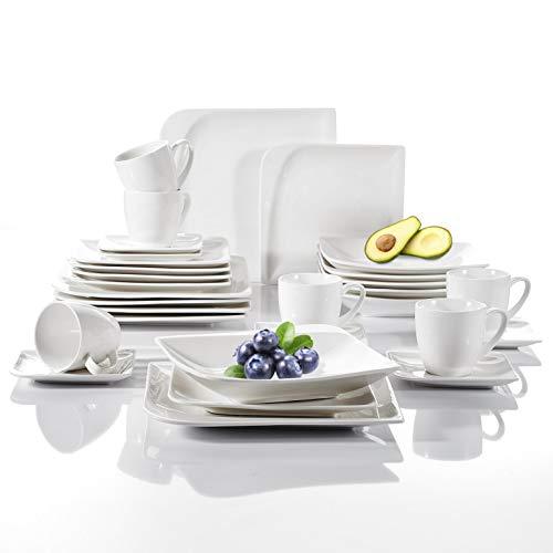 Vancasso Cloris 30-teilig Porzellan Tafelservice Weiß, Eckiges Geschirrset, mit je 6 Kaffeetassen, Untertassen, Dessertteller, Essteller und Suppenteller