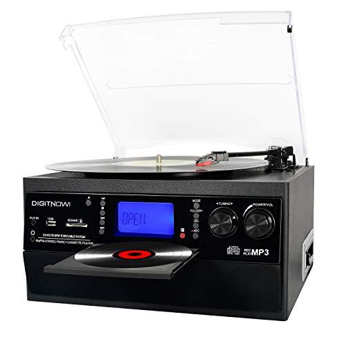 DIGITNOW! Tocadiscos - Bluetooth, CD, Cassette, Encoding, USB, SD, MMC, AM, FM, 3 velocidades, 33/45/78 RPM con Altavoces Incorporados