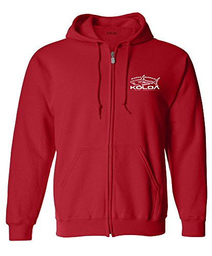 Koloa Surf Great White Shark Logo Zipper Hoodie-L-Red/w