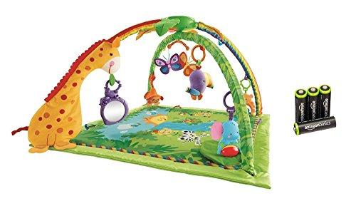 Fisher-Price K4562 - Rainforest Erlebnisdecke, Baby Krabbeldecke mit Spielzeug, Musik, Lichtern und weichem Spielbogen, ab Geburt & AmazonBasics Vorgeladene Ni-MH AA-Akkus - Akkubatterien 4 Stck