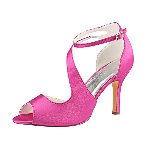 Emily Bridal Zapatos de Boda Peep Sandals Zapatos de Novia de tacón...