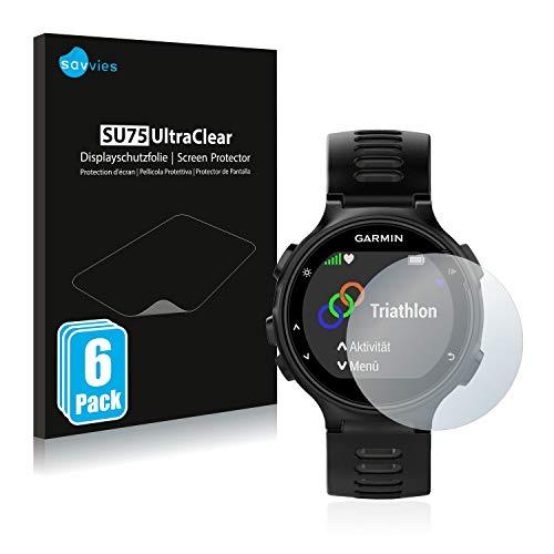 savvies Protector Pantalla Compatible con Garmin Forerunner 735XT (6 Unidades) Película Ultra Transparente