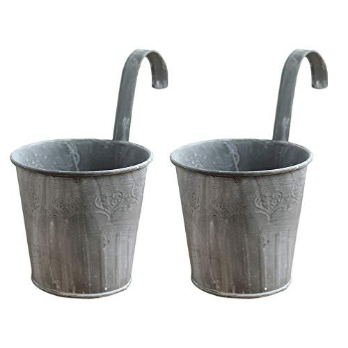 UPKOCH 2 unidades de macetas de hierro vintage para colgar en la valla, jarrón rústico, para...