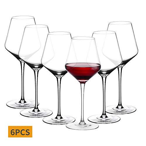 Amisglass Kristall-Weingläser, bleifrei, transparent, klassisches Design, perfekt für Rotweine und Weißweine, Kristallglas, Reine Stielglas-Kollektion, Cabernet-Rotweingläser, 6er-Set 600 ml…