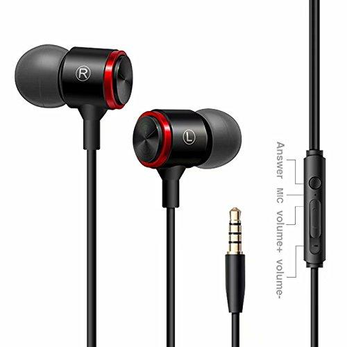 Audífonos con micrófono con Cable HiFi estéreo, Auriculares intraurales con Control Remoto en línea para iOS/Android (1 Unidad)