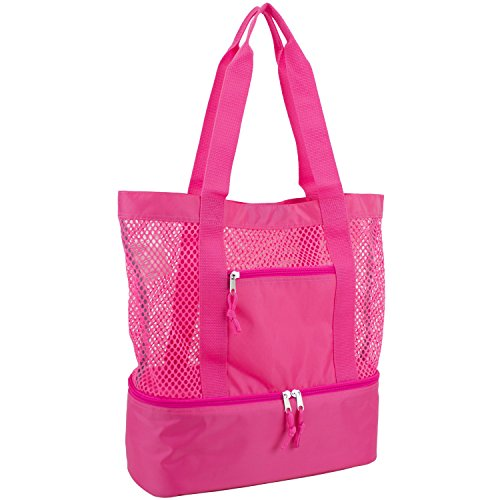 XL Pink Insulated Detachable Picnic Bag with Zipper and Pocket Pool Bag Travel Shoulder Bag BLUBOON Mesh Beach Tote Bag with Cooler Compartment