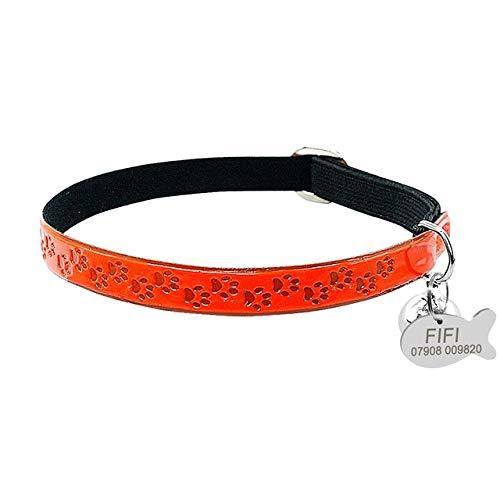 Collar de gato de fluorescencia personalizada PU cuero elástico ID Tag Collares Personalizado Cachorro Pet información para pequeños gatos medianos