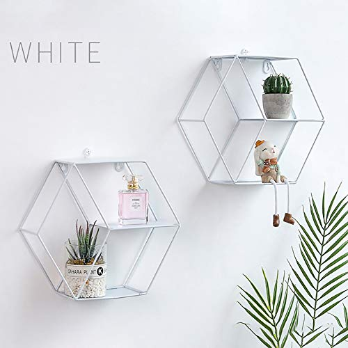 Diafrican Hexagonal Wall Shelf Geometric Wall Decoration Iron Wall Shelves Geometric Decoration Figure for Living Room Bedroom white