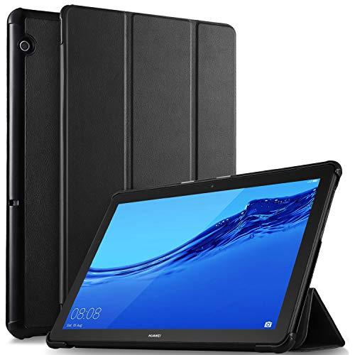 ELTD Hülle für Huawei MediaPad T5 10,Ultra Lightweight Flip mit Ständer Funktion & Eingebautem Magnet Hochwertiges PU Leder Schutzhülle für Huawei MediaPad T5 10 10.1 Zoll 2018 (Schwarz)