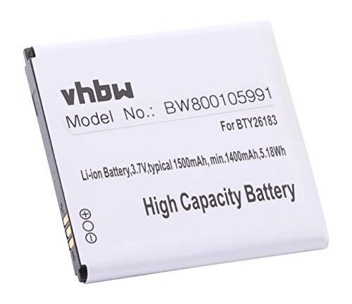 vhbw Li-Ion Akku 1550mAh (3.7V) für Handy Smartphone Elson Mobistel Cynus F4, MT-7521B, MT-7521W, NGM Sublim, Wemove Miracle wie BTY26183, BL-46.