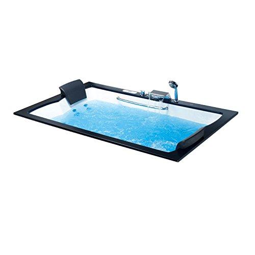 EAGO Design Whirlpool AM185-1JDTSZ 200x120cm - Einbau-Badewanne mit 18 Hydrojets und 12 Bodenjets - 6 Massage-Modi