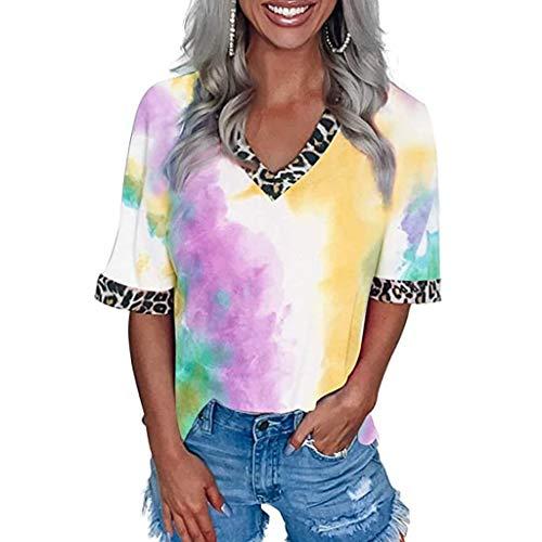 Blusas Y Camisas De Mujer Verano,Mujeres Casual Tie-Dye Camiseta Verano Leopardo Patchwork Cuello En V Manga Corta Tops
