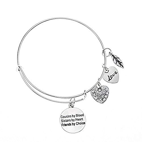 Infinity Collection Cousin Gift, Cousins by Chance, Friends by Choice Charm Adjustable Bangle, Cousin Jewelry for Women for Cousins