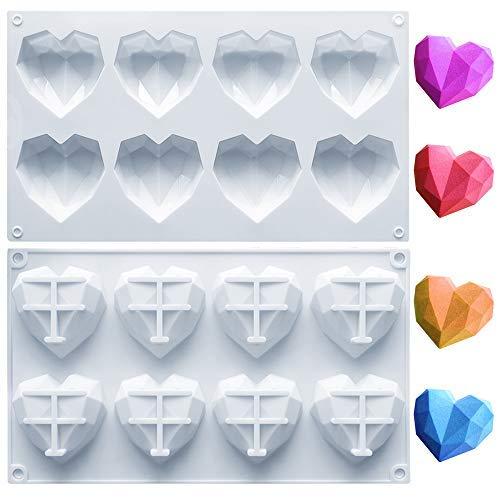1 paquete de moldes de silicona de corazón de diamante, 8 cavidades antiadherentes de fácil liberación en forma de corazón bandeja de silicona para..