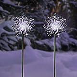 Alpine Corporation SLC131SLR-WT-2 Alpine 33' Tall Solar Snowflake Cool White LED Light-Set of 2 Garden Stake, Multicolor