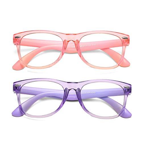 AZorb Kids Blue Light Blocking Glasses 2 Pack Unbreakable Frame for Boys & Girls-2 Pack(Transparent Pink+Transparent Purple)