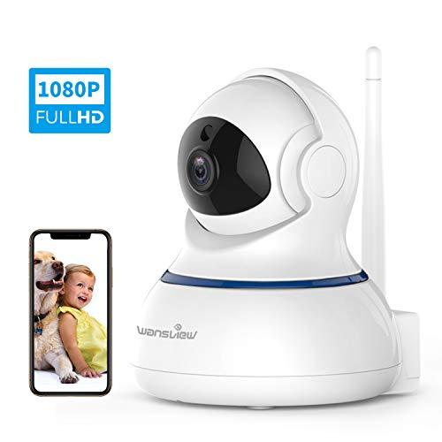 Wansview Caméra de Surveillance WiFi, FHD 1080P Cloud Caméra IP sans Fil avec Détection de Mouvement, Vision Nocturne, Audio Bidirectionnel, PTZ Q3s Blanche