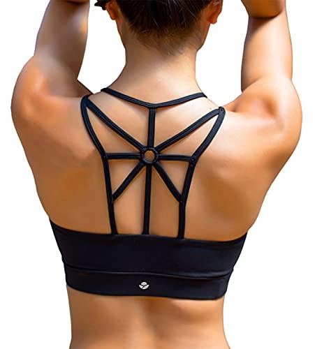 YIANNA Damen Sport BH Ohne Buegel Bequem Bustier Elastizität Fitness Yoga Sports Bra Crop Top mit Abnehmbare Gepolstert Schwarz,YA139 Size S