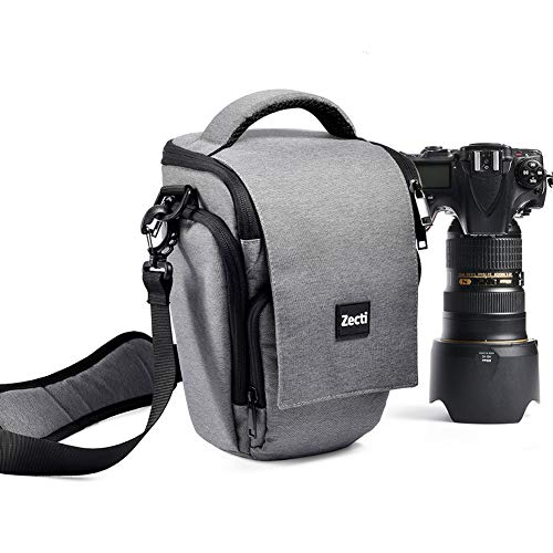 Professioneller Kameratasche, Zecti Fototasche Schlaufen Rucksack für Nikon Canon Sony und DSLR Kameras und Objektiv, Weiteres Zubehör, wasserdichte für Nikon Canon Sony Fuji Olympus (Grau)