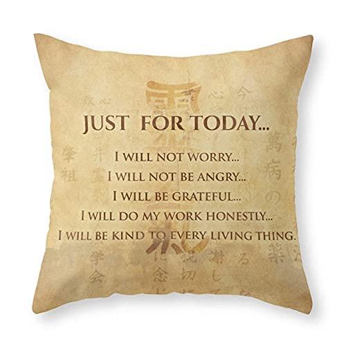 Fundas de almohada, principios de Reiki - Reiki Precepts #5 con estampado cuadrado DIY decorativo fundas de cojín para sofá, cama, hogar, coche, 45,72 x 45,72 cm