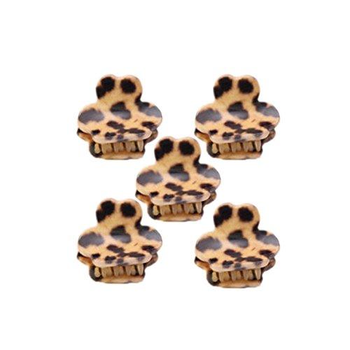 Ensemble de 5 léopard mignon Mini pince cheveux, kaki / d'ours