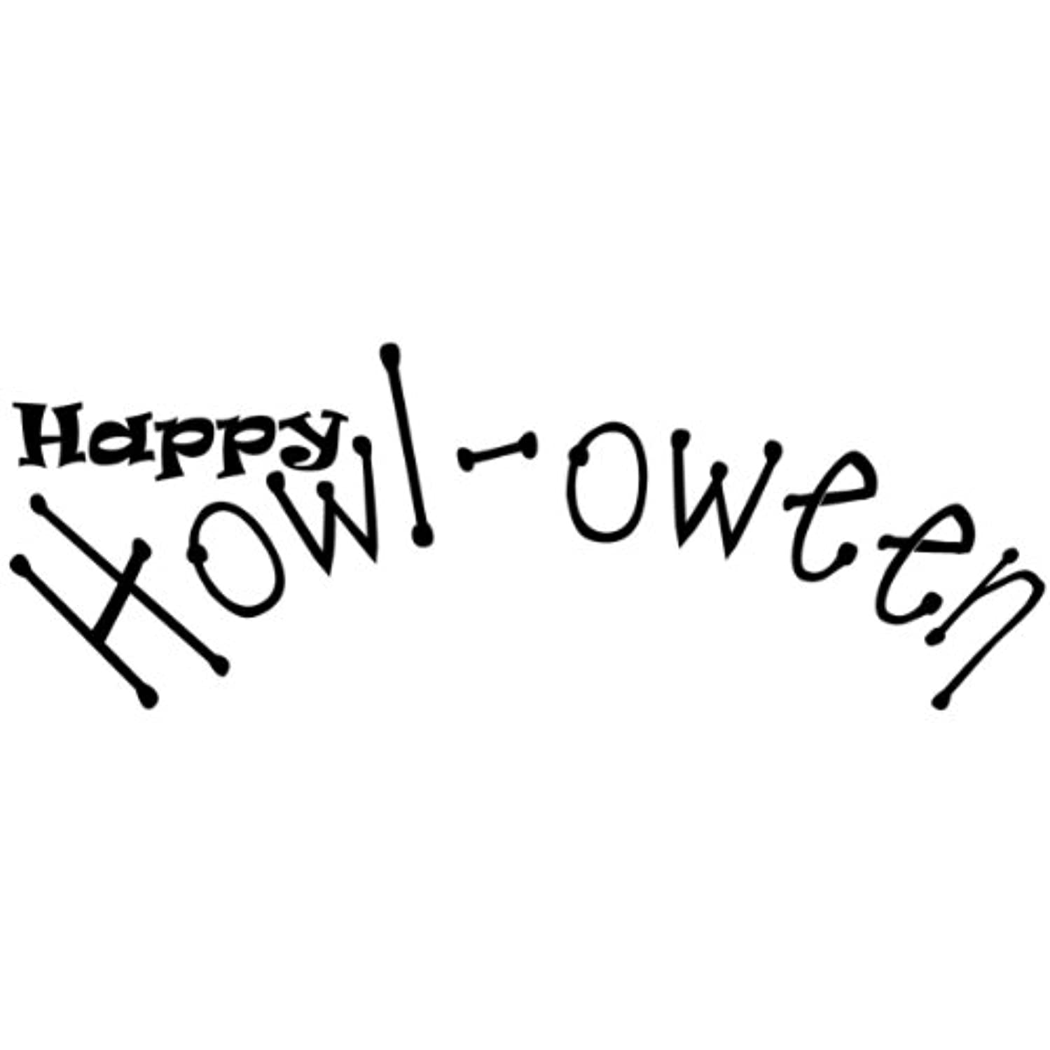 C.C. Designs Logo Sentiments Cling Stamp, 1 by 2-Inch, Happy Howl-Oween