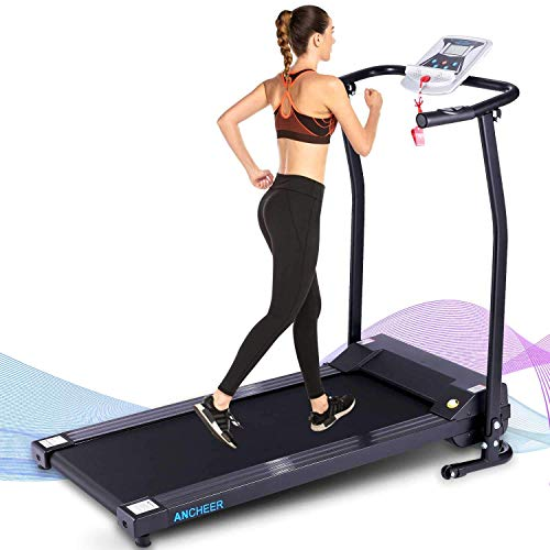 ANCHEER Folding Treadmill,12 Preset Programs, Electric Foldable Treadmills with LCD Monitor Motorized & Pulse Grip, Indoor Walking Running Exercise Machine Trainer for Home GymWorkout (Black)
