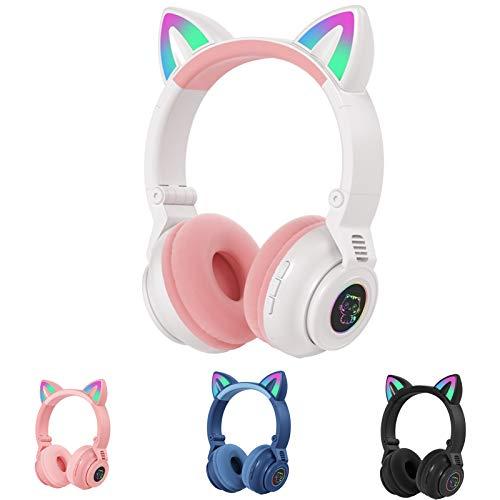 STN-26 RGB Cat Ear Headphones Bluetooth 5.0 Suporte para fone de ouvido sem fio TF Card 3.5mm Plug (branco)