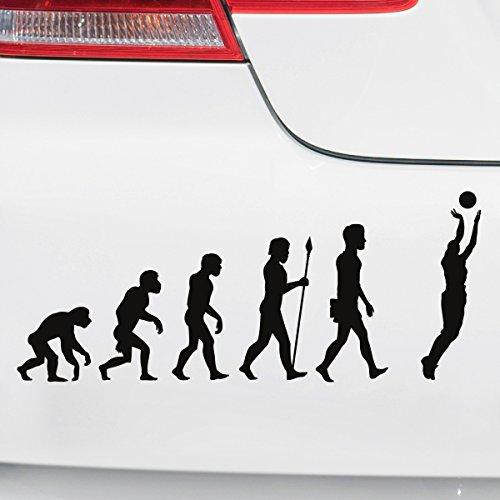Motoking Autoaufkleber - Lustige Sprüche & Motive für Ihr Auto - Evolution Basketball - 25 x 10,3 cm - Schwarz Seidenmatt